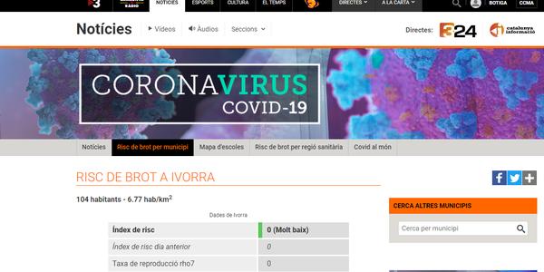 Una plataforma del canal 3/24 permet fer un seguiment del Covid a Ivorra